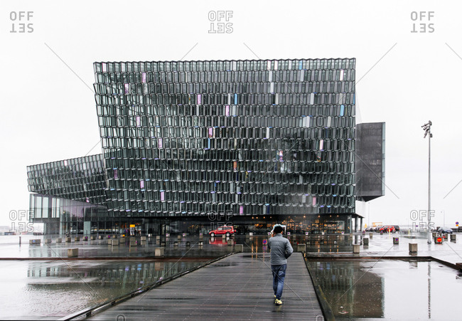 Exterior view of Harpa concert hall in Reykjavik, Iceland
