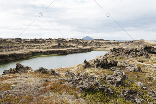 Myvatn volcanic lake in northern Iceland