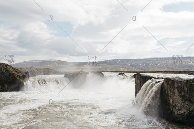 Waterfall by Myvatn lake in northern Iceland
