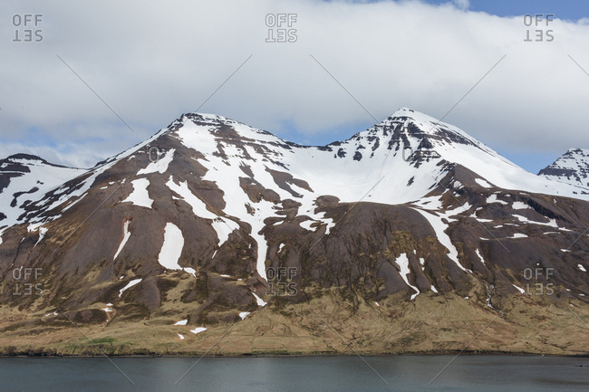 Snowy mountains by North fjords Iceland