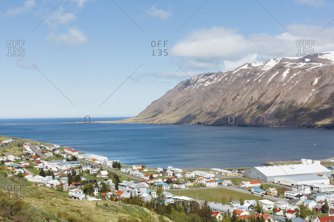 Aerial view of the town siglufjordur in north Iceland