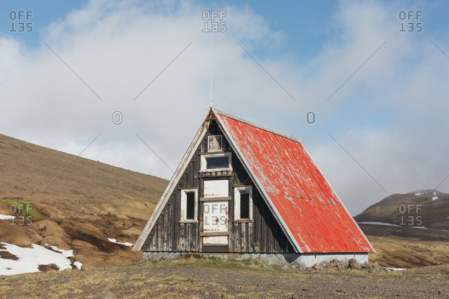 Abandoned 'A Frame' house in west Iceland