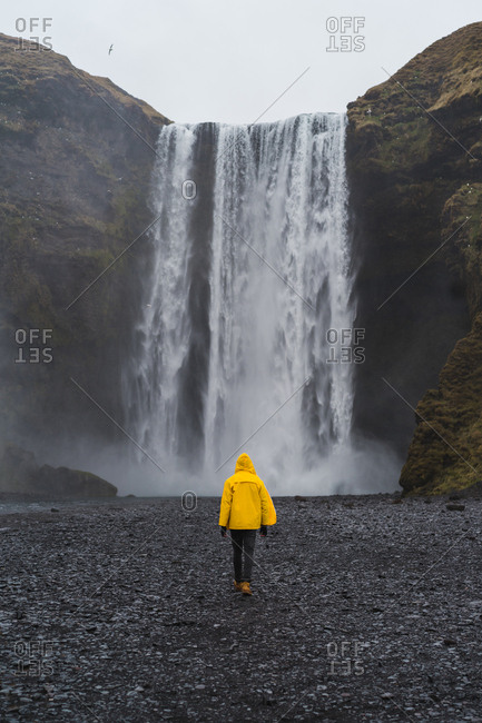 back view of man near waterfall