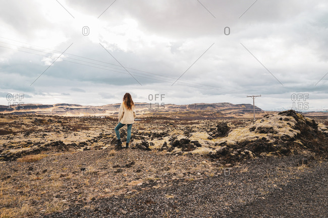 Back view of female with long hair standing on stony plain with yellow grass and looking at distant mountains and grey clouded sky in Namaskardh, Iceland