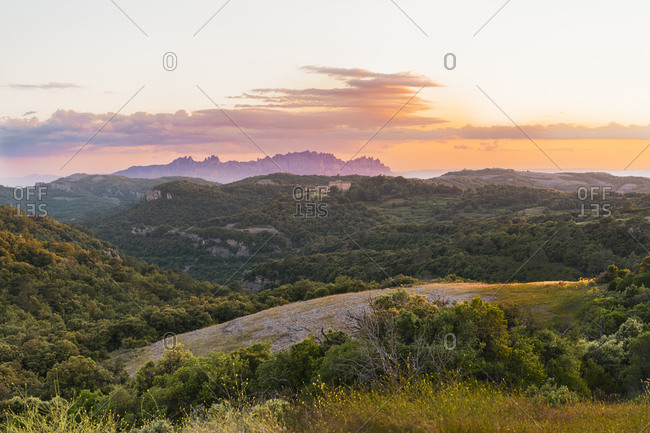 Magnificent view of mountain ridge at distance and beautiful slopes with trees and valleys with green grass shot made at sunset at El Montcau in Barcelona, Spain