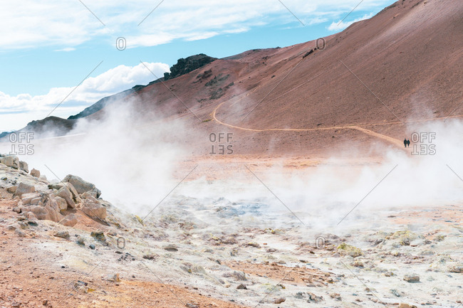 Steaming sulfur pools in unearthly Icelandic landscape