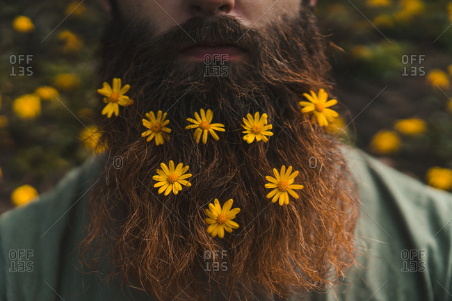 Thoughtful hairless bearded man with yellow flowers looking away in nature.