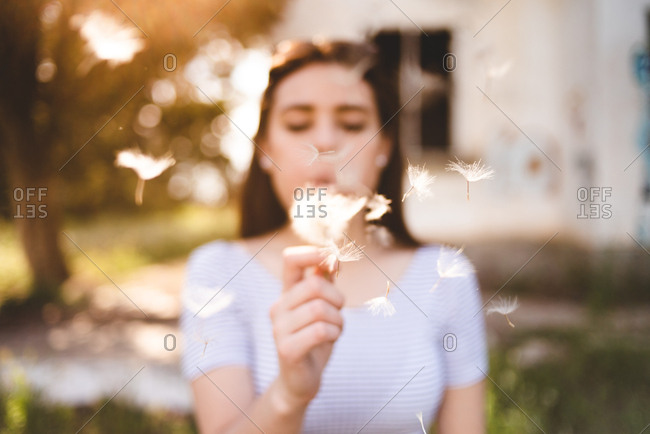 Blurred young woman blowing on delicate dandelion while walking in countryside on sunny day