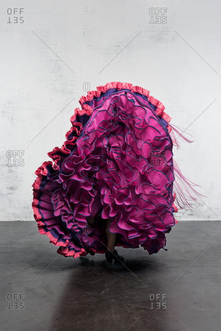 Flamenco dancer in action with the typical Spanish dance costume. High speed and movement.