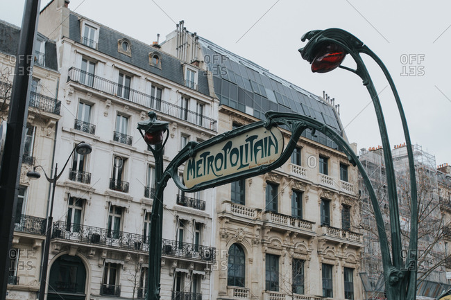 Metropolitan sign places on a street of the Paris city in France.