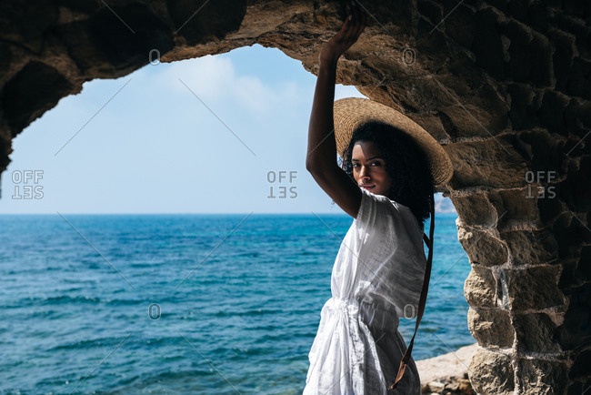 Black woman contemplating the sea view