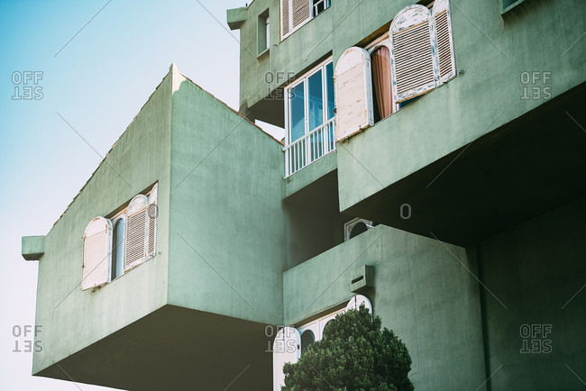 Vintage architecture of a colorful building windows