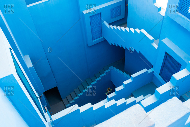 Modern architecture of a blue building stairs