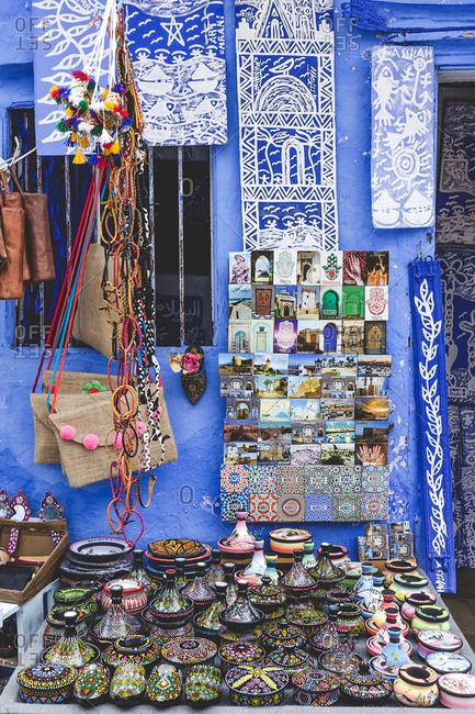 Typical arabic architecture in Asilah. Streets, doors, windows, shops, Morocco