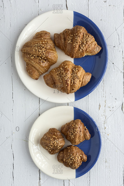top view of baked croissants