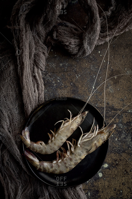 Raw prawns on the plate