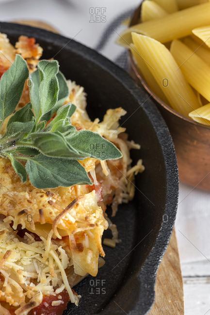 Macaroni with cheese and chorizo. Homemade. Italian pasta