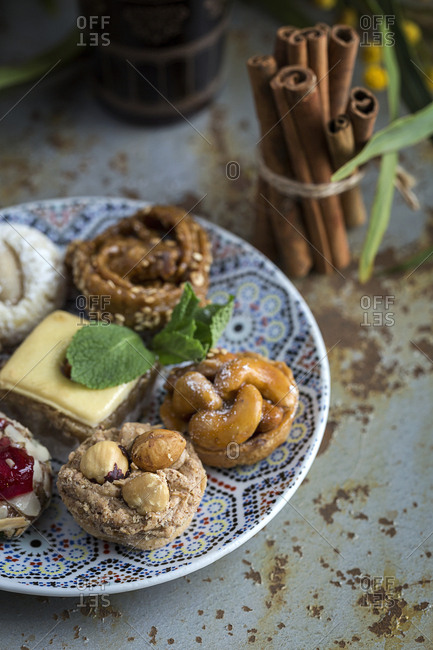 Typical Moroccan sweets with honey and almonds. Homemade