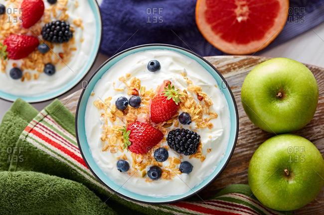 Breakfast bowl of yogurt and berries