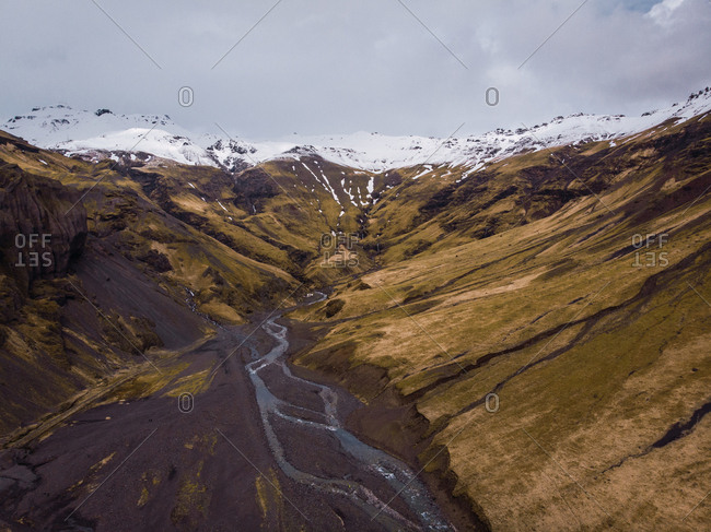 View from above of epic landscape of mountains valley with rivers in Iceland