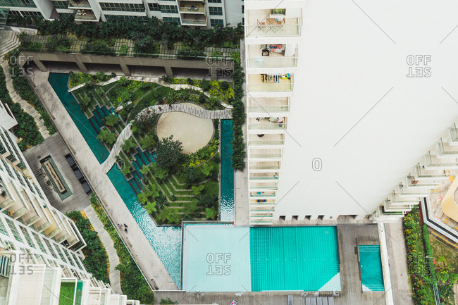 From above turquoise pool