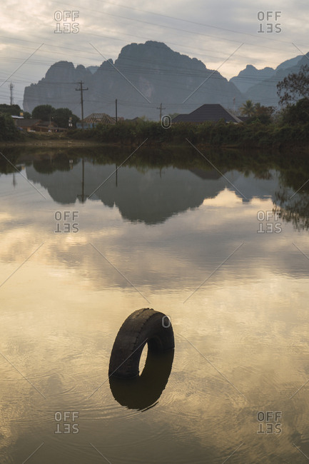 Tire placed in pond