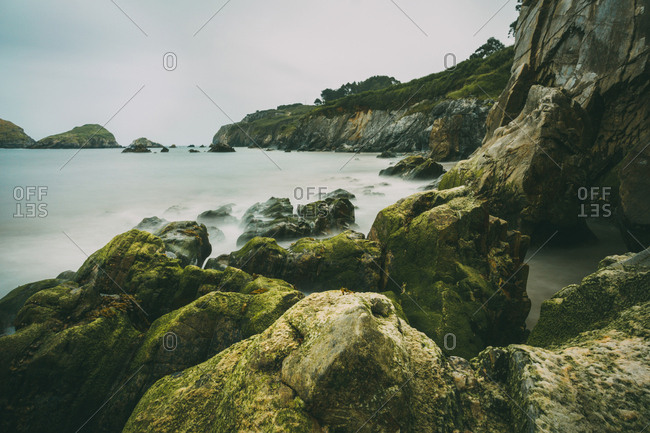 Long exposure of Cantabrian sea coastline