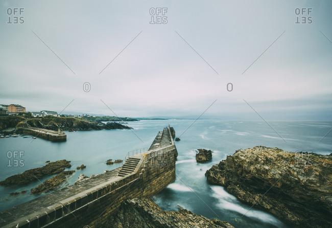 Long exposure of Cantabrian sea port