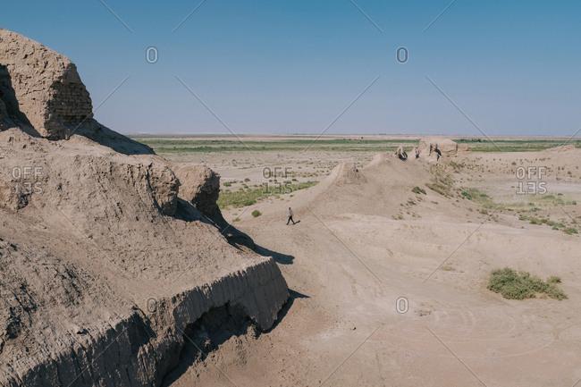 Man walking in rural mountain scene