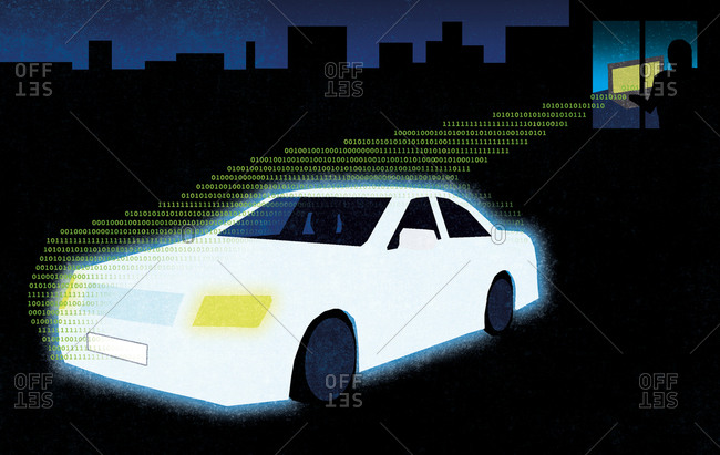 Glowing white car projecting from computer screen