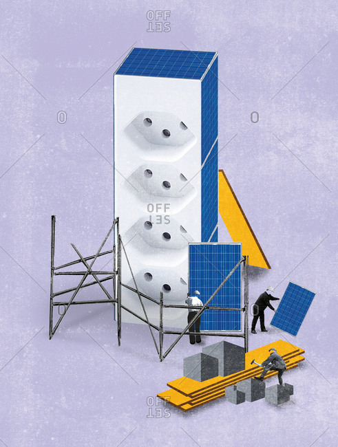 Men hanging solar panels