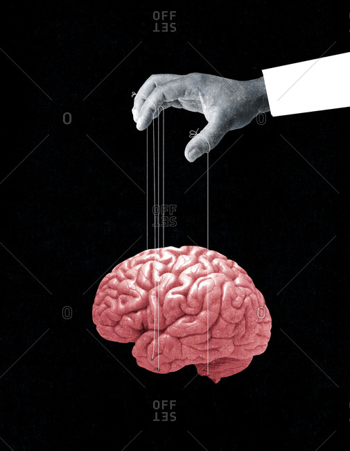 Hand with brain on puppet strings