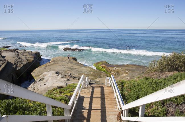 Steps leading down to beach in San Diego, California