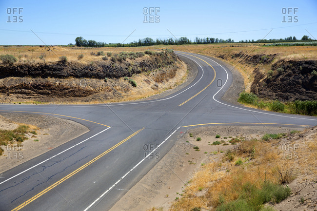 Intersection of roads in rural Washington State, USA
