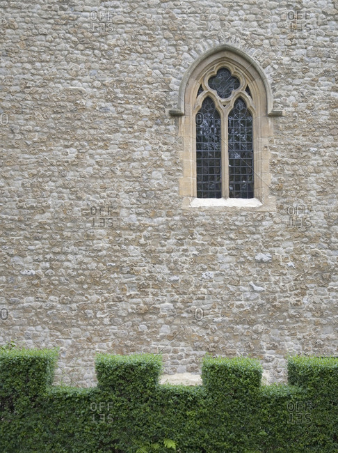 Stone exterior of the Tower of London in London, England