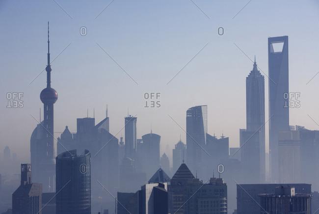 Morning sunrise skyline Pudong business district, Shanghai, China
