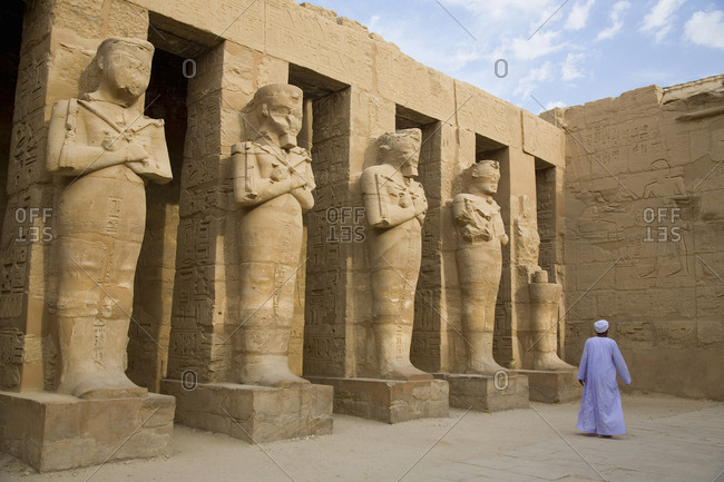 Man walking at the Karnak temple complex, Luxor, Egypt