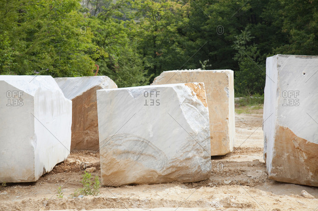Marble quarry prepared blocks for sale, Cararra, Italy