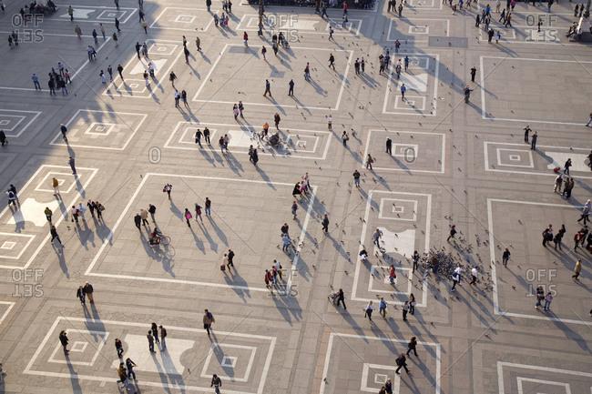 Milan, Italy - February 16, 2016: Milan cathedral plaza