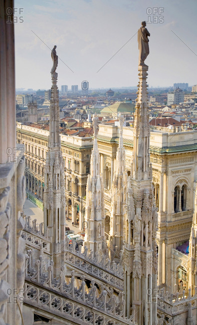 Milan, Italy - October 7, 2008: Milan Cathedral rooftop spires