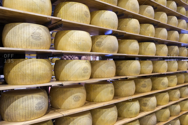 New York, NY - September 2, 2018: Wall of cheeses in New York City
