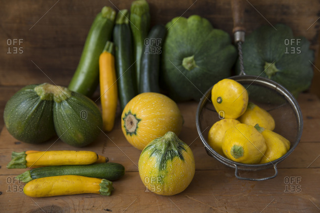 Variety of summer squashes