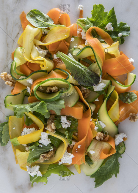 Fresh salad with raw zucchini