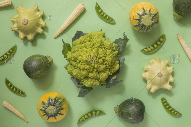 Romanesco broccoli surrounded by fresh summer vegetables