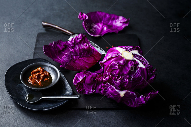 Raw red cabbage with creamy red chili flakes and salt