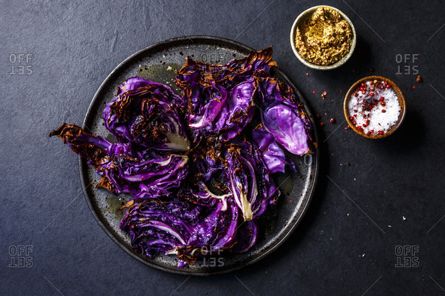 Chopped roasted red cabbage with mustard