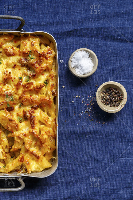 Salt and pepper and half a mac and cheese casserole
