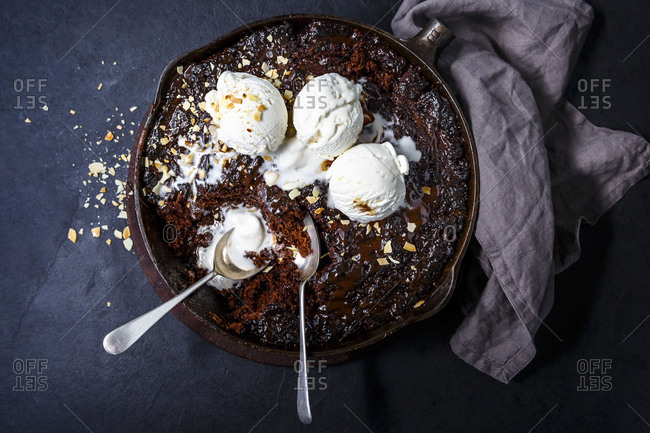 Oozing chocolate pudding with vanilla ice-cream