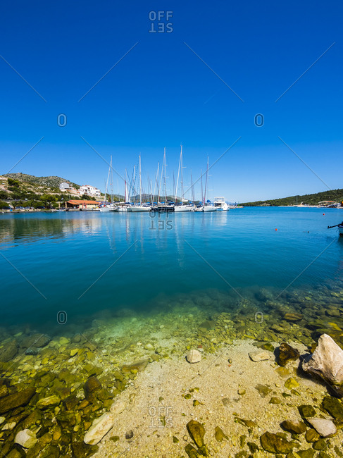 Croatia- Dalmatia- Adriatic Sea- Fishing village Marina- Bay with sailing boats