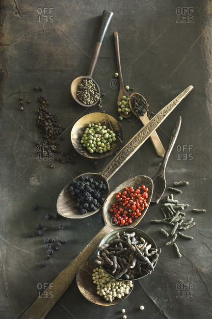 Various sorts of pepper on spoons